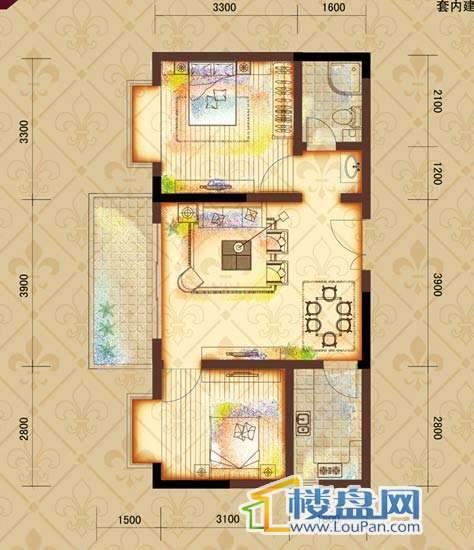 鸿基文昌苑B2户型 2室2厅1卫1厨