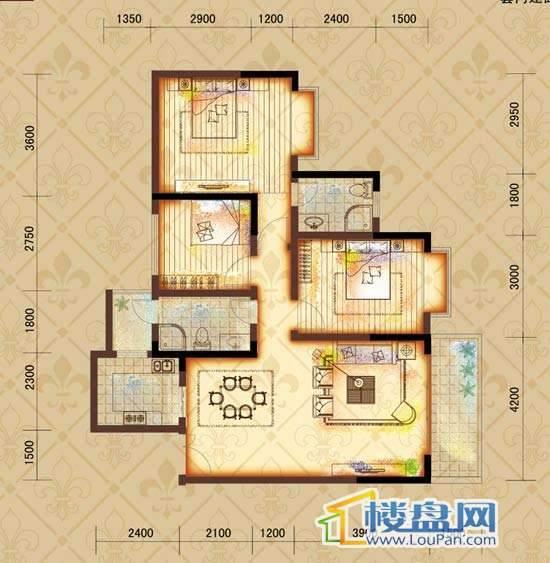 鸿基文昌苑B5户型 3室2厅2卫1厨