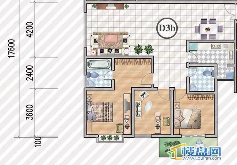 金狮小区二期顺海组团1号楼D3b户型3室2厅2卫1厨