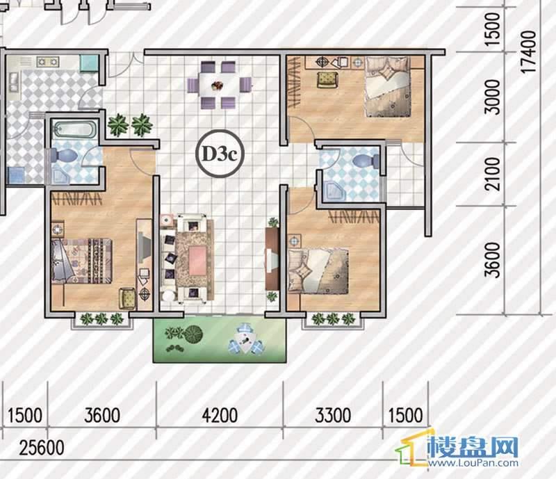 金狮小区二期顺海组团1号楼D3c户型3室2厅2卫1厨