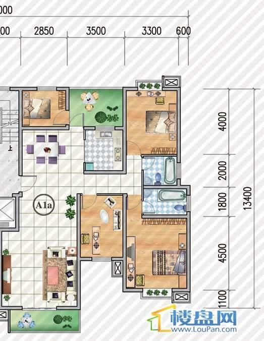 金狮小区二期顺海组团9号楼A1a户型4室2厅2卫1厨