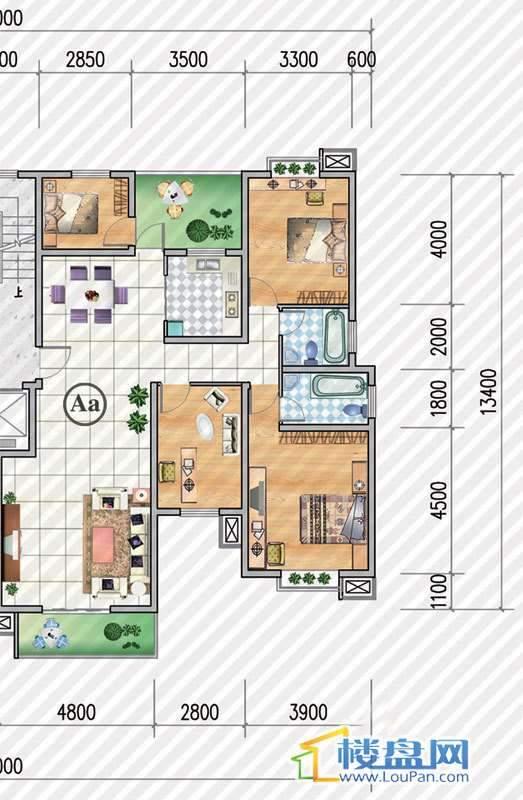 金狮小区二期顺海组团15号楼Aa户型4室2厅2卫1厨