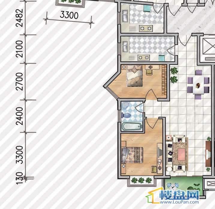 金狮小区二期顺海组团17、29、30号楼D2b户型2室2厅1卫1厨
