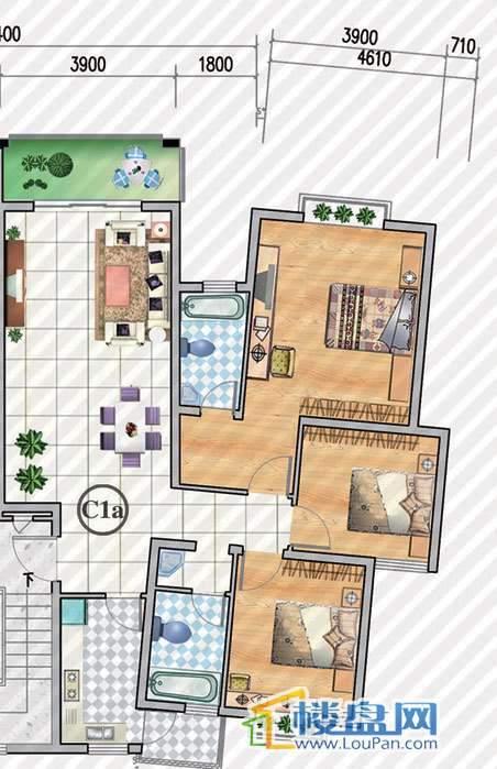 金狮小区二期顺海组团25号楼C1a户型3室2厅2卫1厨