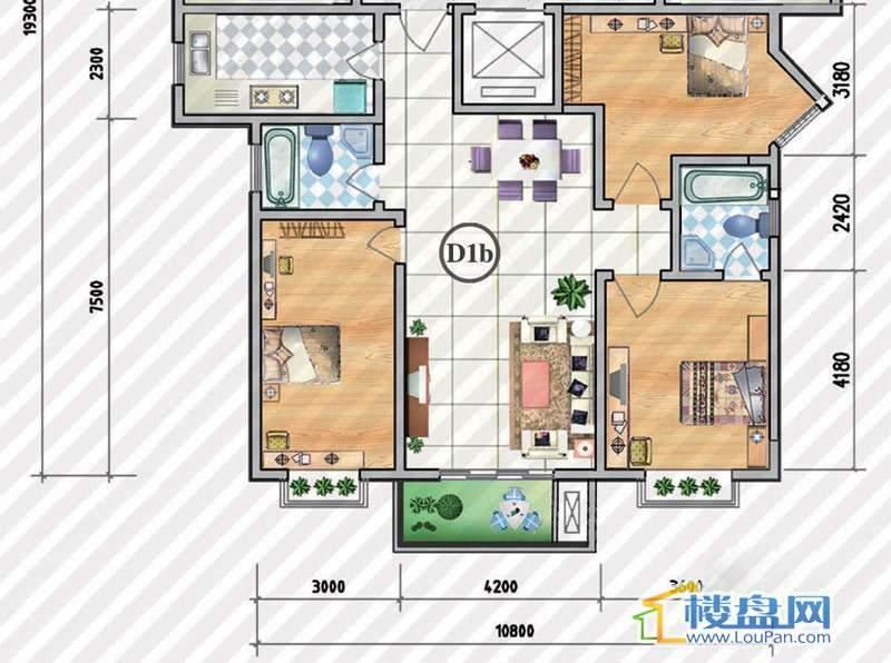 金狮小区二期顺海组团27、31号楼D1b户型3室2厅2卫1厨