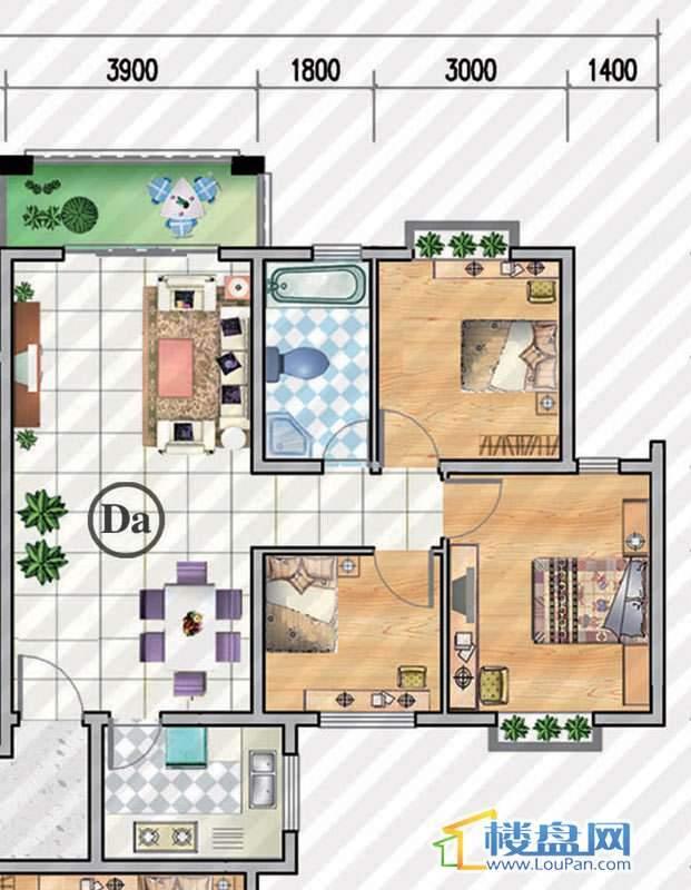 金狮小区二期顺海组团Da户型3室2厅1卫1厨