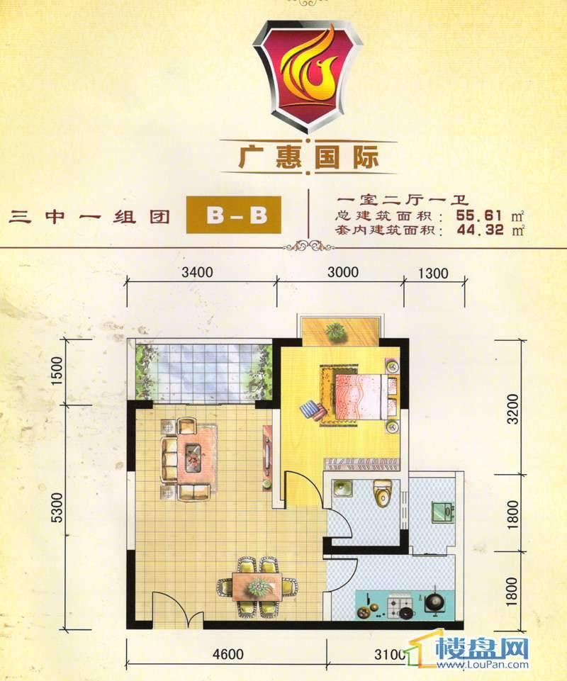 广惠国际三中一组团B-B户型 一室两厅一卫