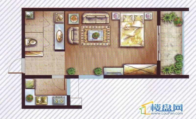 最空间B2 C2-5、8 A15-16户型1室1厅1卫1厨