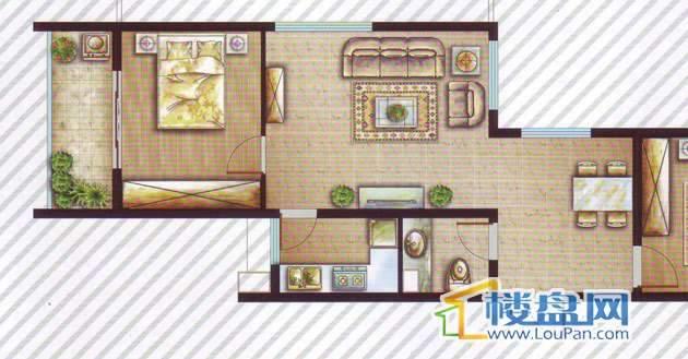 最空间B5(偶数层)户型2室2厅1卫1厨