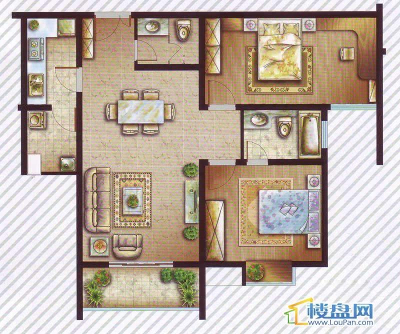 最空间B6户型2室2厅2卫1厨