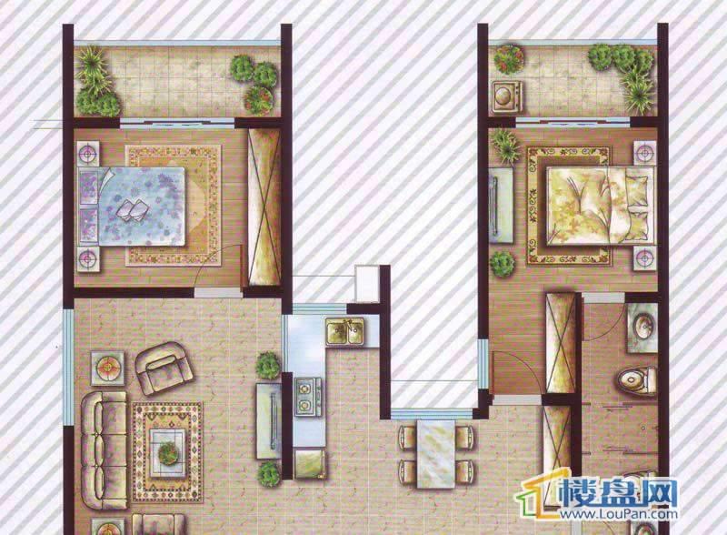 最空间C1(偶数层)户型2室2厅2卫1厨