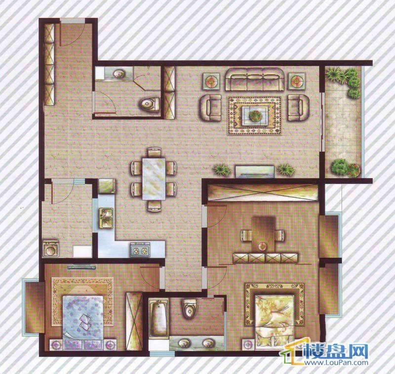 最空间C6户型3室2厅2卫1厨