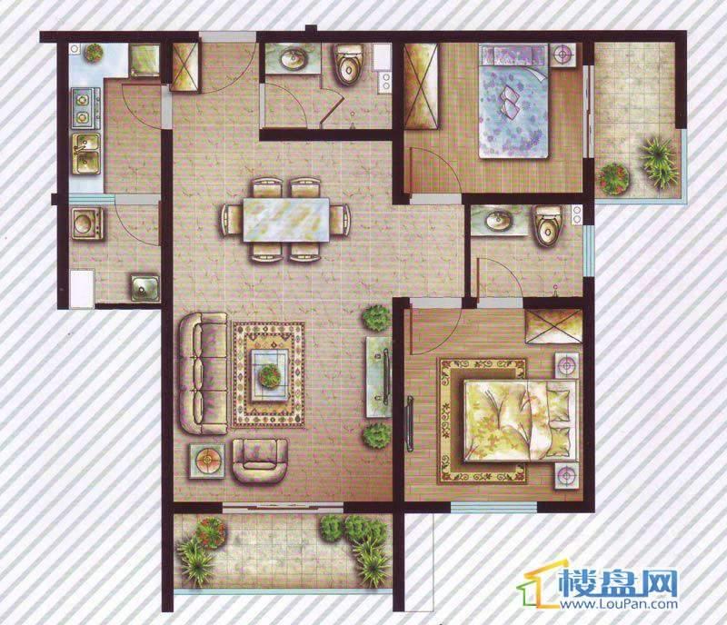 最空间C7户型2室2厅2卫1厨