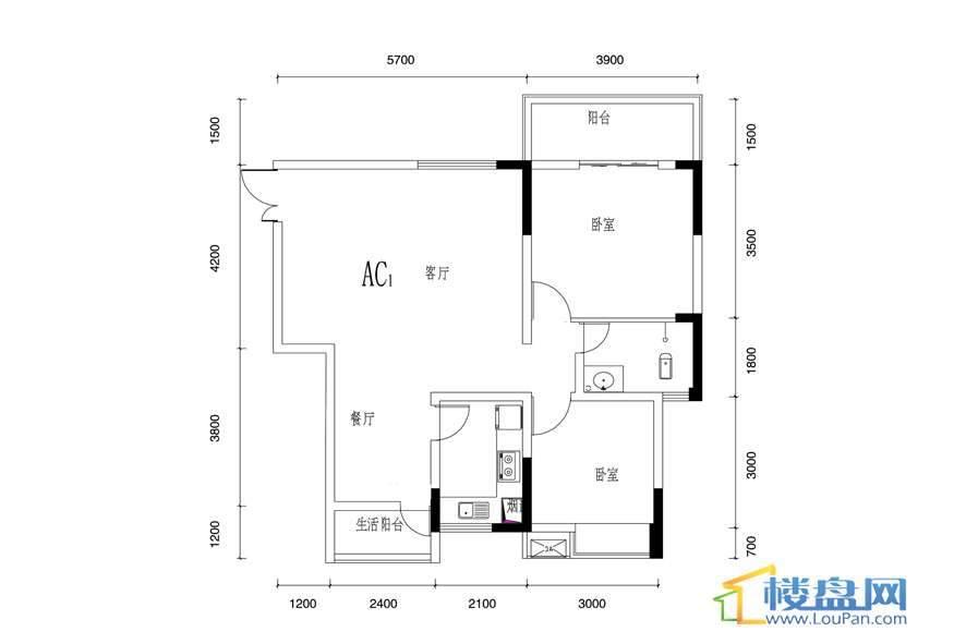 丰球·豪庭户型图2室2厅1卫