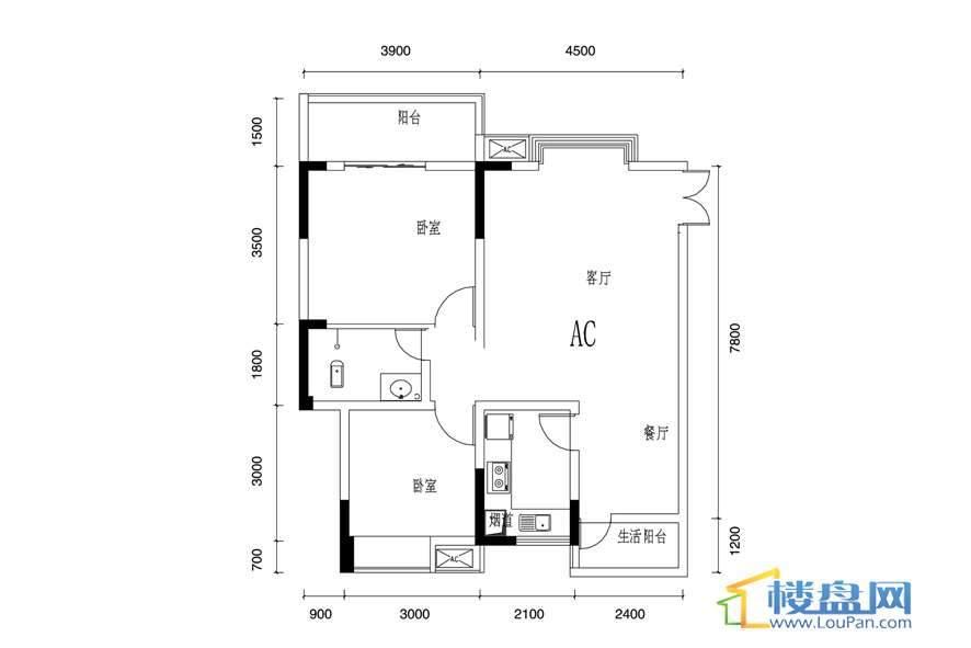 丰球·豪庭户型图 2室2厅1卫