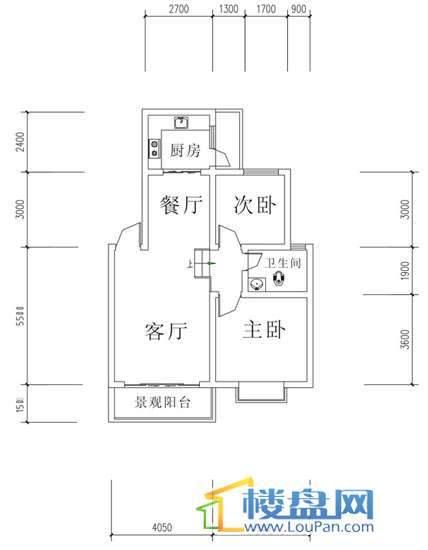 华屹锦城I组团9#1单元户型2室2厅1卫1厨