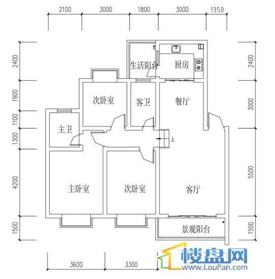 华屹锦城I组团9#楼2-4单元户型3室2厅2卫1厨