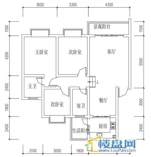 华屹锦城I组团10#楼1-5单元户型3室2厅2卫1厨