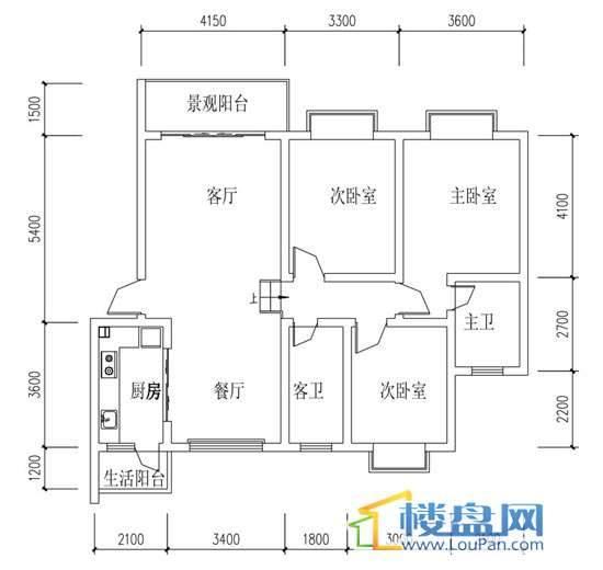 华屹锦城I组团12#1-2单元户型3室2厅1卫1厨
