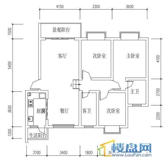 华屹锦城I组团12号楼3单元1号房3室2厅1卫1厨