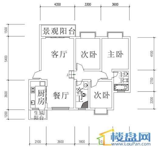 华屹锦城I组团13#3单元1号房3室2厅2卫1厨