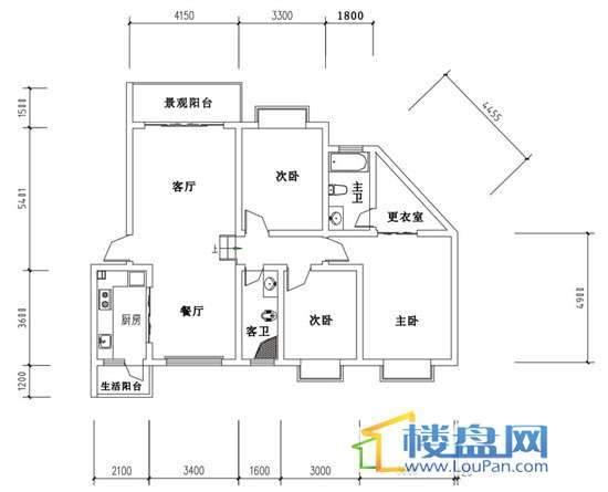 华屹锦城I组团13#4单元2号房3室2厅2卫1厨