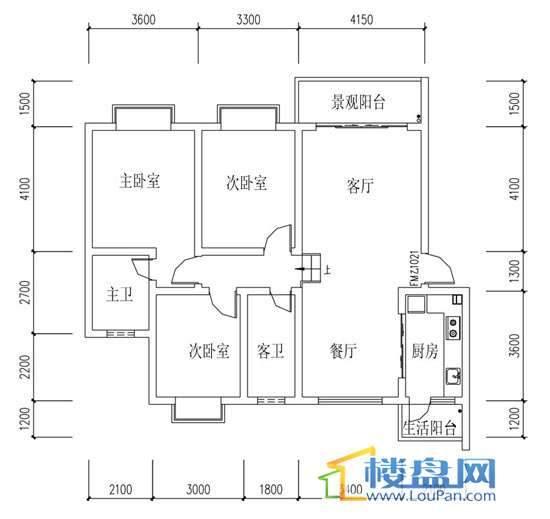 华屹锦城I组团13#楼3单元2号房3室2厅2卫1厨