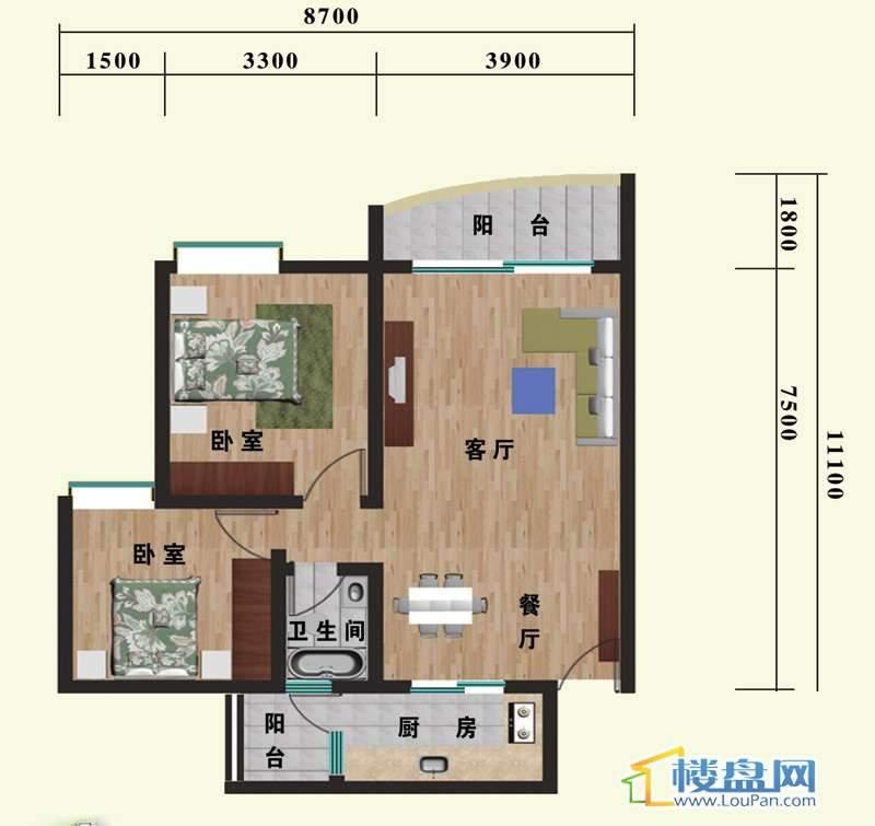 金都园林鑫城A-B户型2室2厅1卫1厨