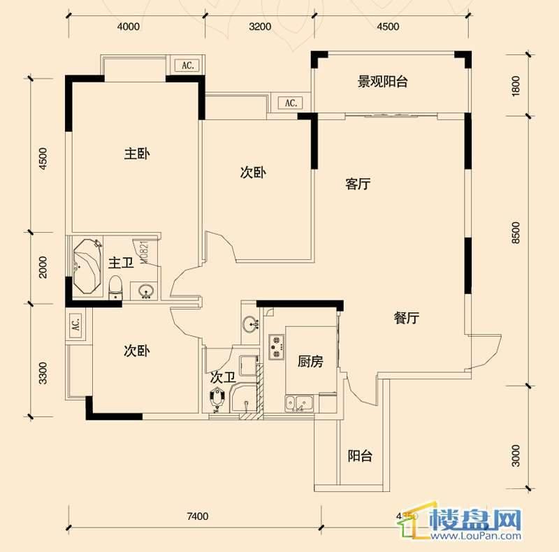 源兴御景华府C1户型3室2厅2卫1厨