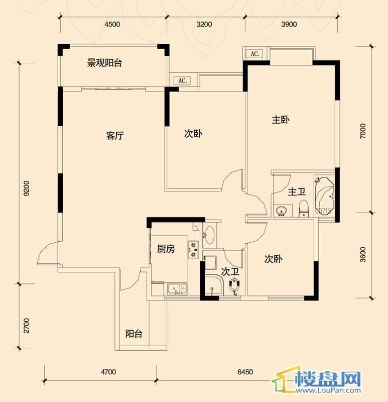 源兴御景华府C2户型3室2厅2卫1厨