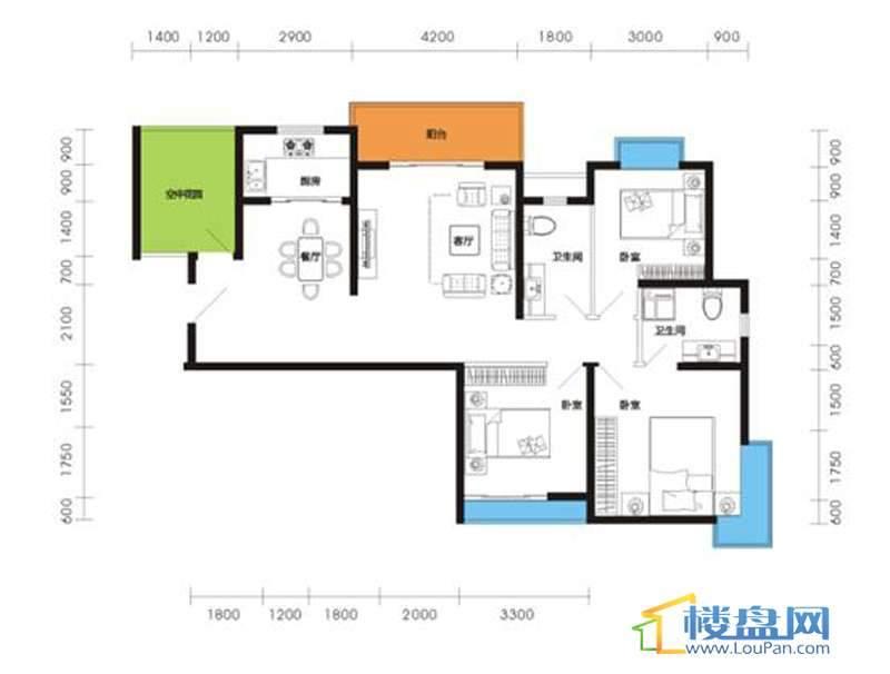 燕山雅筑1号楼1单元1-1户型3室2厅2卫2厨