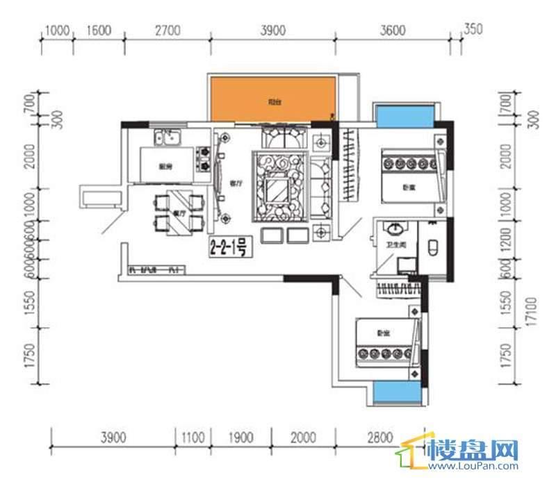燕山雅筑3号楼2单元2-1户型2室2厅1卫
