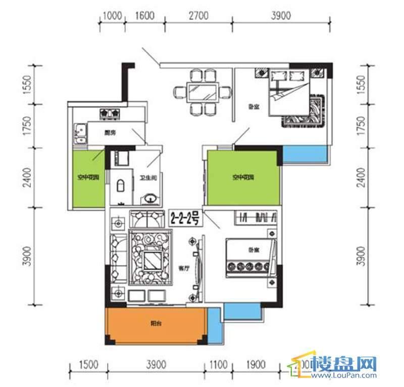燕山雅筑3号楼2单元2-2户型2室2厅1卫