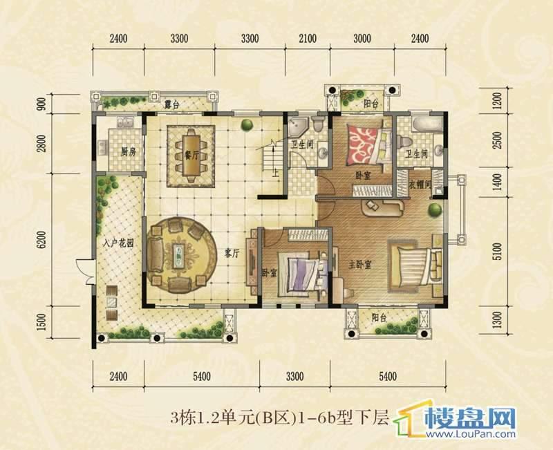 洋房复式3栋1.2单元(B区)1-6b型下层 总建筑面积280㎡.jpg