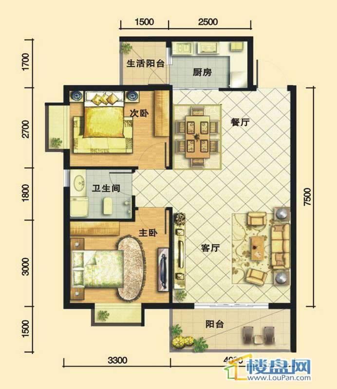 嘉馨苑B32室2厅1卫1厨