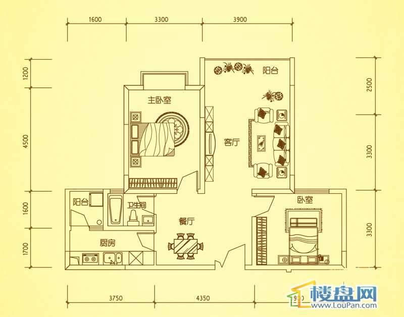 锦绣蓝湾4、8栋户型三2室2厅1卫1厨