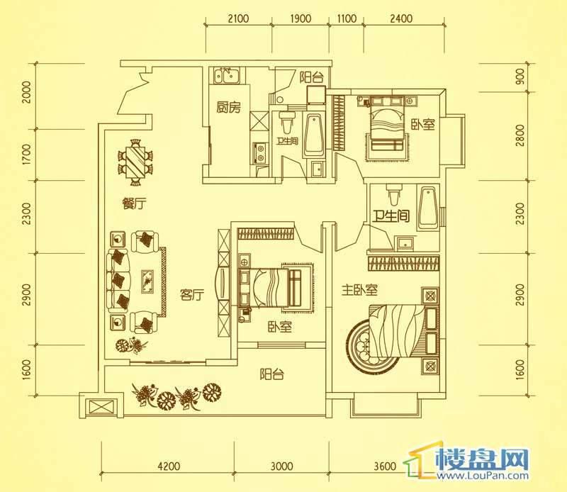 锦绣蓝湾4、8栋户型一3室2厅2卫1厨