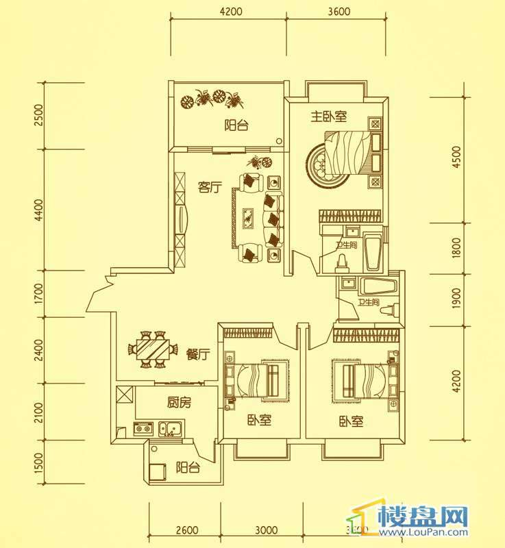 锦绣蓝湾4栋户型五3室2厅2卫1厨