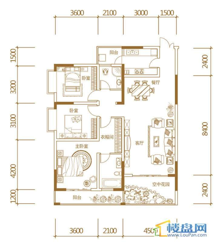 3室的房间结构图