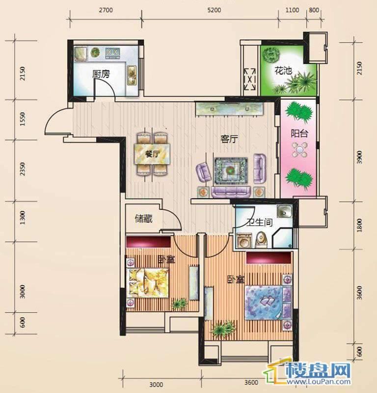 绿地伊顿公馆F3户型2室2厅1卫1厨