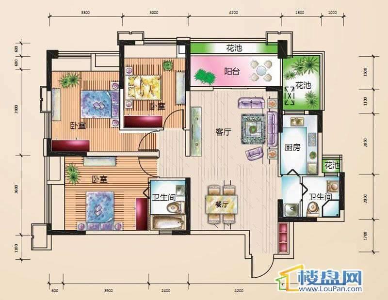 绿地伊顿公馆G4户型3室2厅2卫1厨