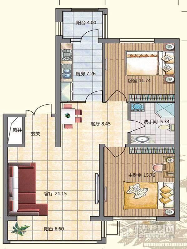 高层1栋D户型2室2厅1卫1厨