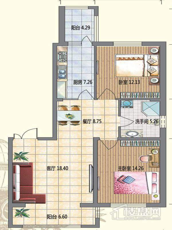 高层2栋A户型2室2厅1卫1厨