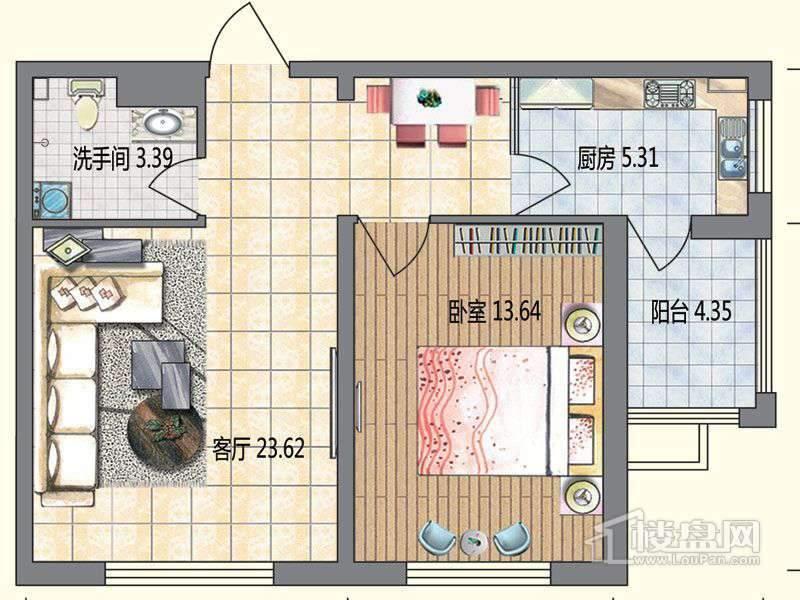 高层6栋B户型1室1厅1卫1厨
