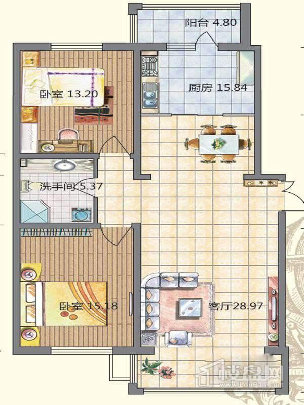 高层9栋A户型2室2厅1卫1厨