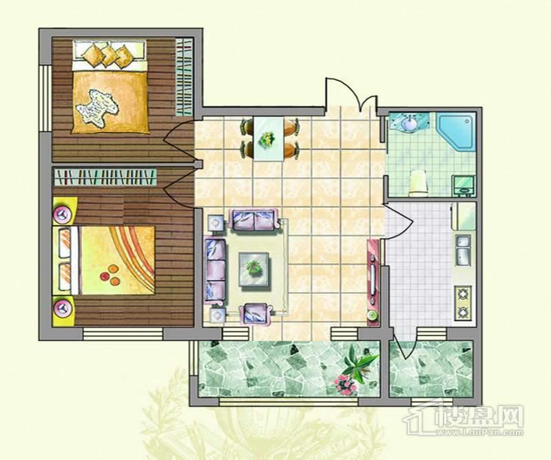 户型二2室2厅1卫1厨