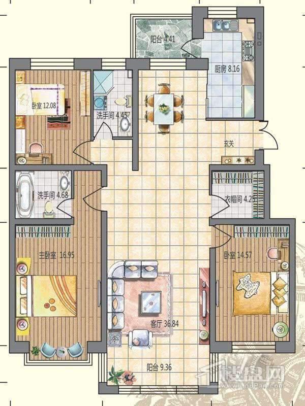洋房A户型3室2厅1卫1厨