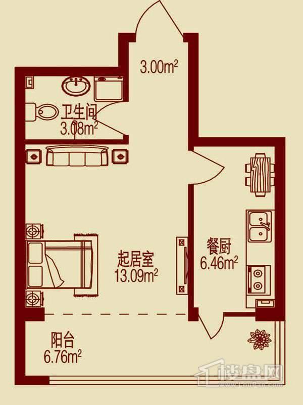 1室1厅1卫1厨