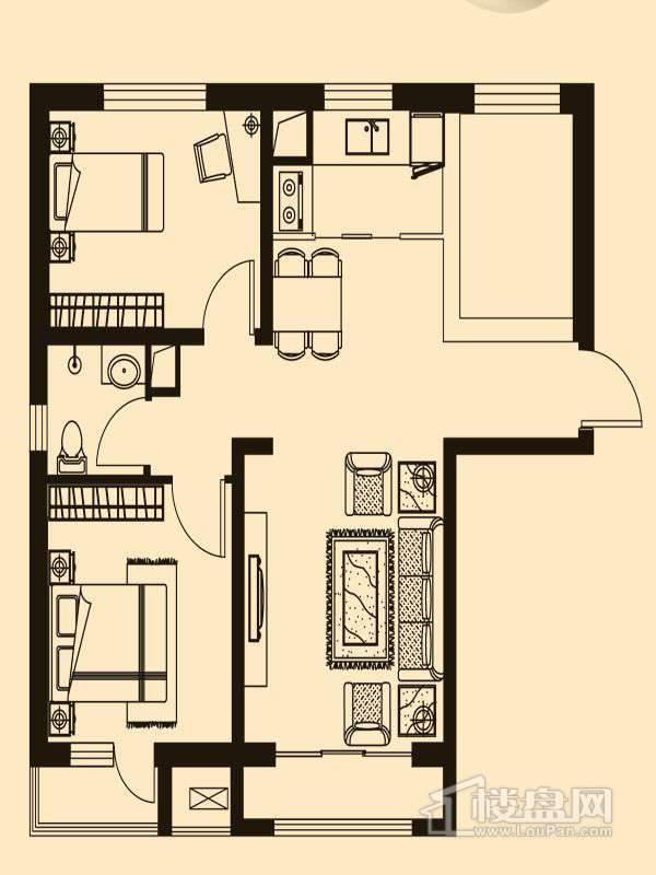 B1户型2室2厅1卫1厨