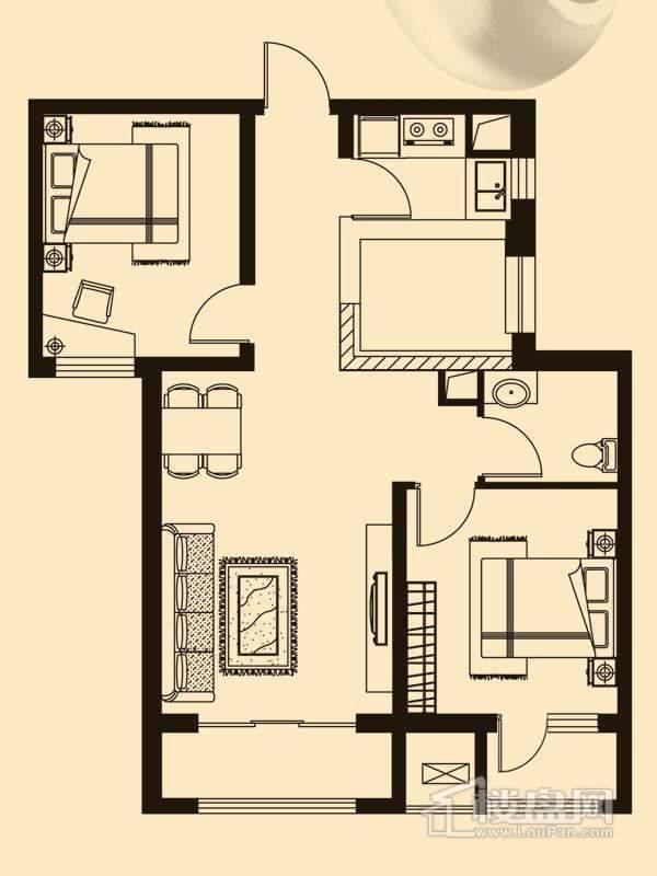 B2户型2室1厅1卫1厨